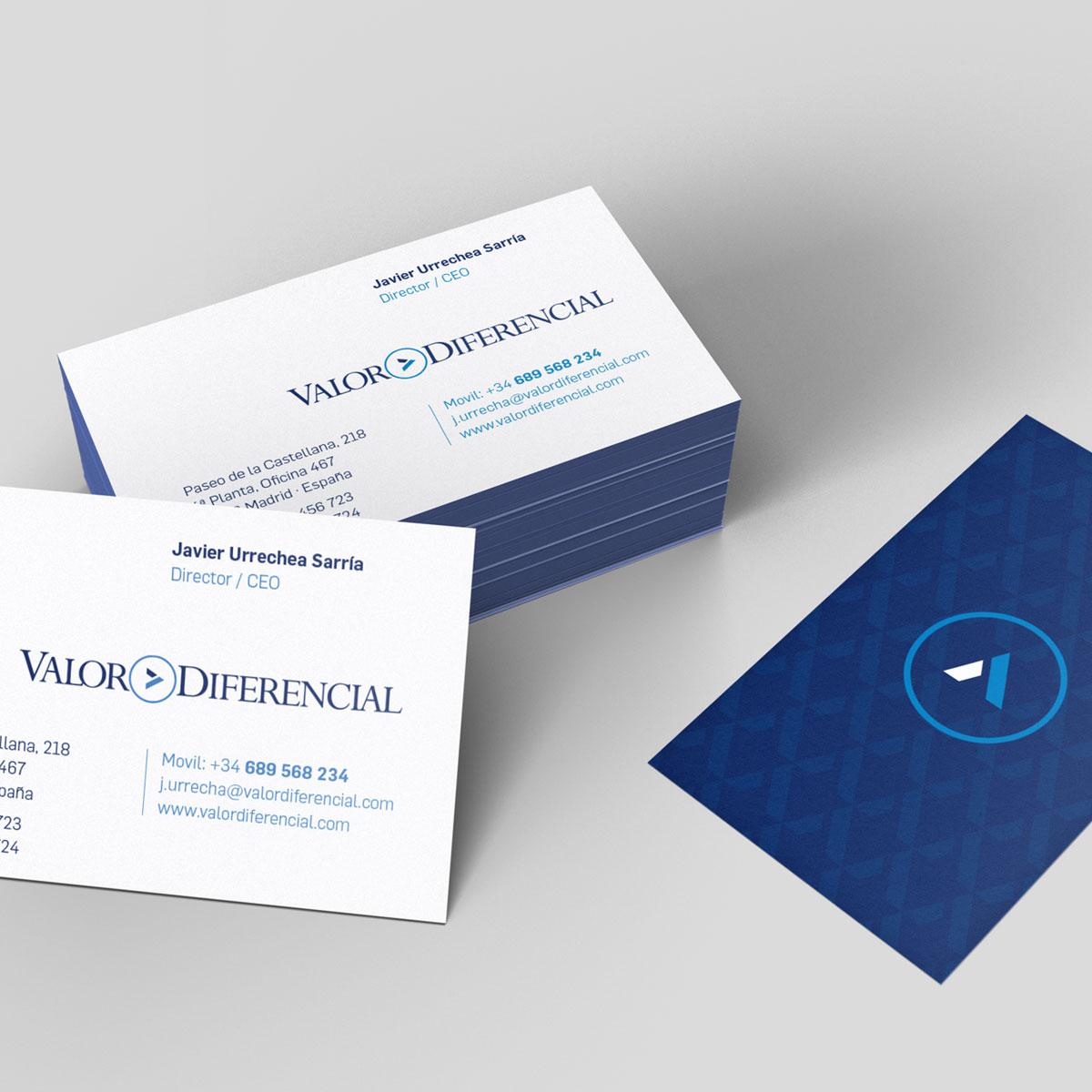 Diseño de tarjetas de visita Valor Diferencial